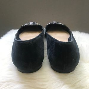 Vince Camuto Shoes - Vince Camuto Black Suede Jeweled Flats | Size 7